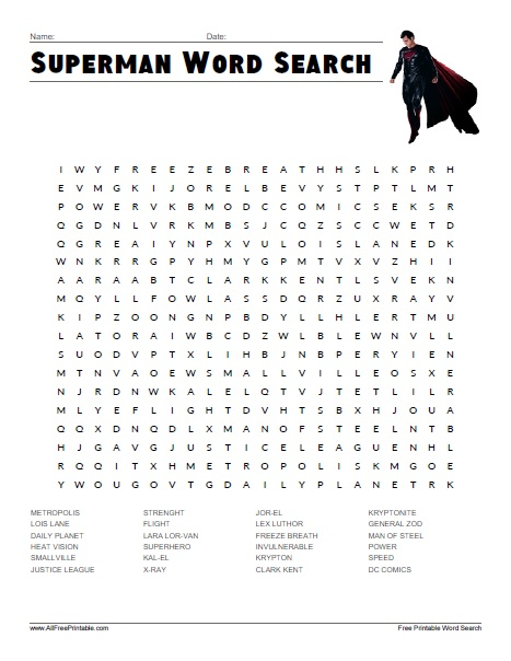 Free Printable Superman Word Search
