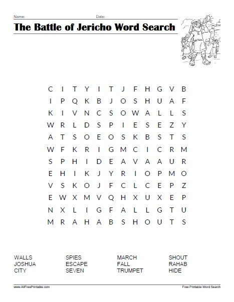 Free Printable The Battle of Jericho Word Search