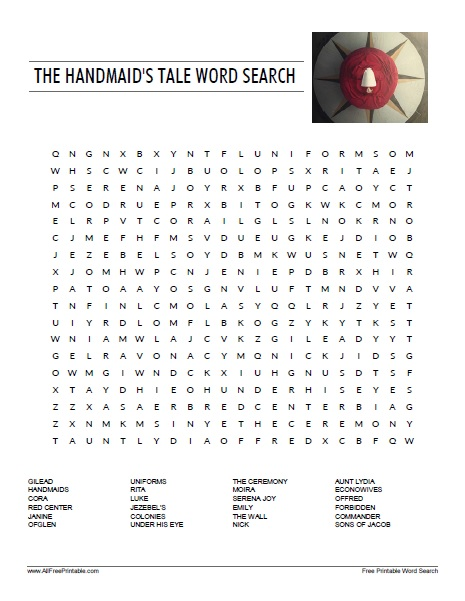 Free Printable The Handmaid's Tale Word Search