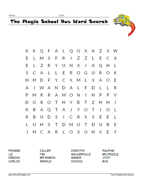 Free Printable The Magic School Bus Word Search