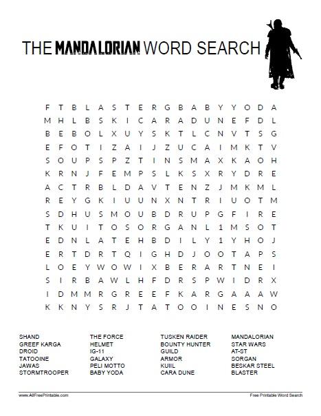 Free Printable The Mandalorian Word Search