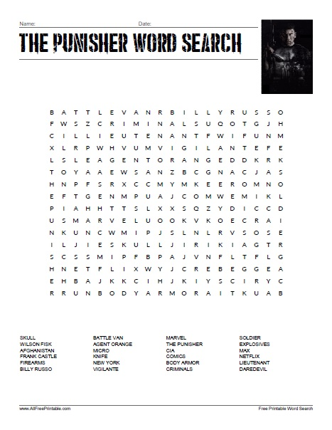 Free Printable Marvel's The Punisher Word Search