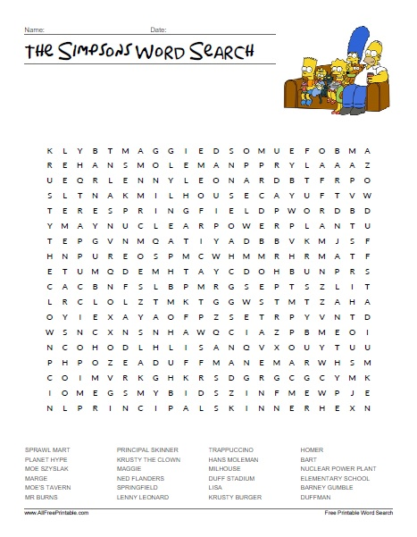 Free Printable The Simpsons Word Search