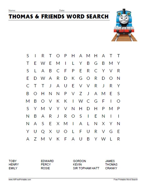 Free Printable Thomas & Friends Word Search