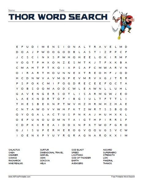 Free Printable Thor Word Search