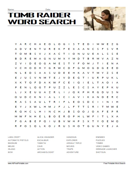 Free Printable Tomb Raider Word Search