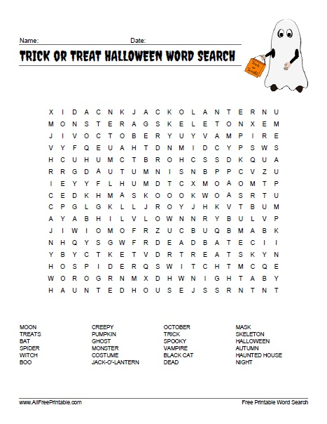 photograph regarding Halloween Wordsearch Printable identify Trick or Deal with Halloween Term Look - Totally free Printable