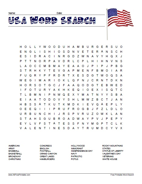 Free Printable USA Word Search