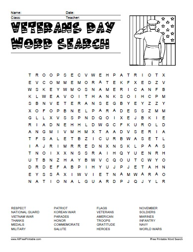 Veterans Day Word Search - Free Printable - AllFreePrintable.com
