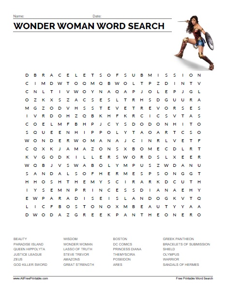 Free Printable Wonder Woman Word Search