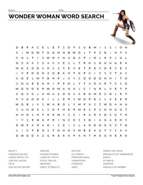 Free Printable Wonder Woman Word Search