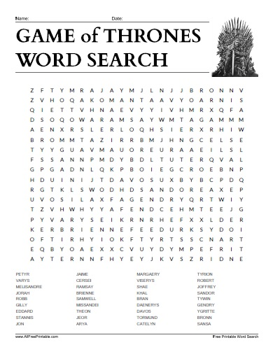 Free Printable Game of Thrones Characters Word Search