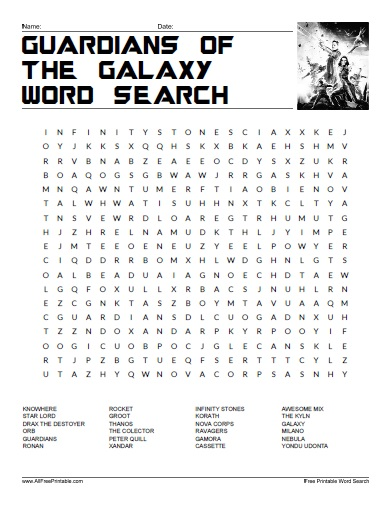 Free Printable Guardians of the Galaxy Word Search