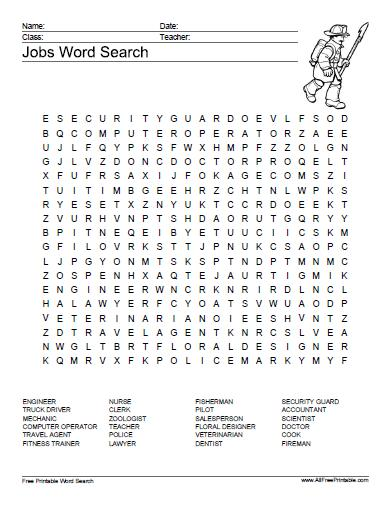 Free Printable Jobs Word Search Puzzle