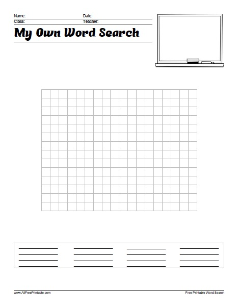 Free Printable Make Your Own Word Search