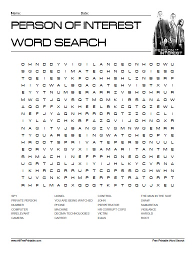 Free Printable Person of Interest Word Search