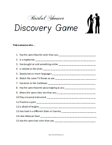graphic regarding Bridal Shower Games Printable identified as Bridal Shower Discovery Sport - No cost Printable