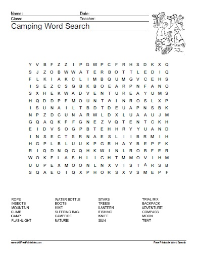 Free Printable Camping Word Search Puzzle