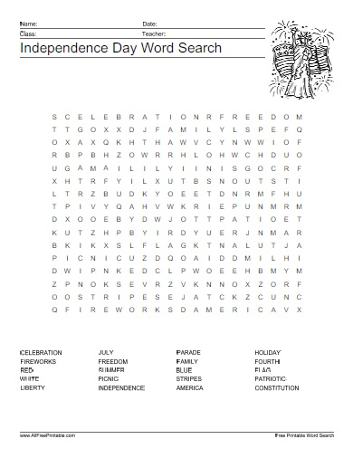 Independence Day Word Search Free Printable Allfreeprintable