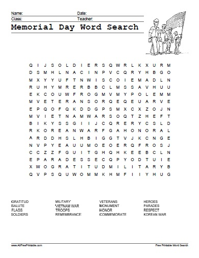 Free Printable Memorial Day Word Search