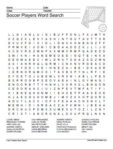 Soccer Players Word Search Puzzle Free Printable