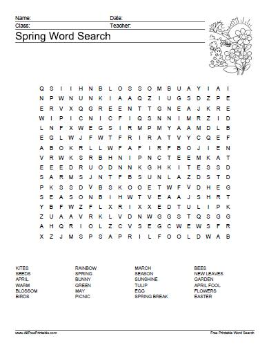 Free Printable Spring Word Search Puzzle