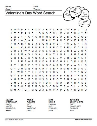 Valentine's Day Word Search Puzzle - Free Printable ...