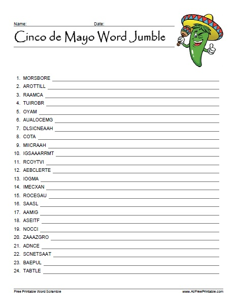 Free Printable Cinco de Mayo Word Jumble