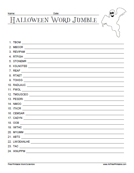 Free Printable Halloween Word Jumble