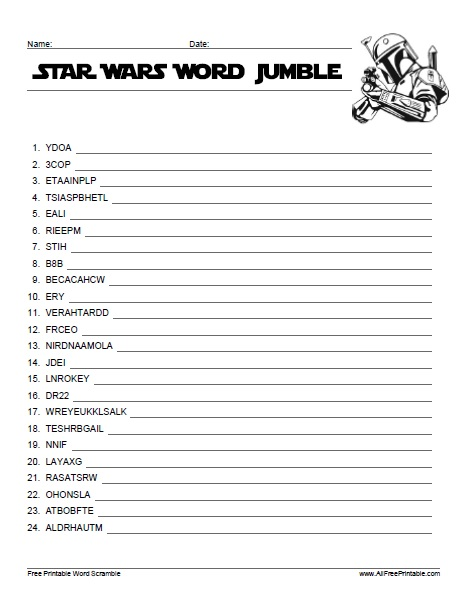 Free Printable Star Wars Word Jumble