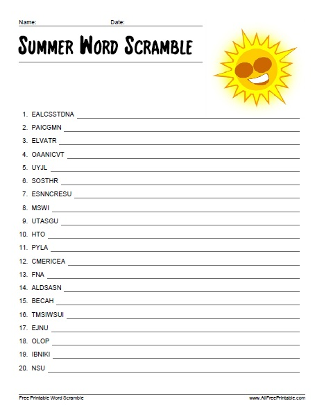 Free Printable Summer Word Scramble