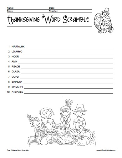 Free Printable Thanksgiving Word Scramble