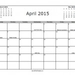 April 2015 Calendar with Holidays