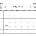 May 2015 Calendar with Holidays