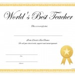 World's Best Teacher Certificate