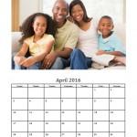 April 2016 Photo Calendar Template