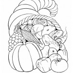 Thanksgiving Fruit Basket Coloring Page