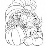 Thanksgiving Fruit Basket Coloring Page